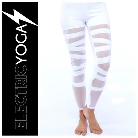 16e9af1671c365 Electric Yoga Pants | Ballerina Bandage Mesh Yoga Leggings White ...